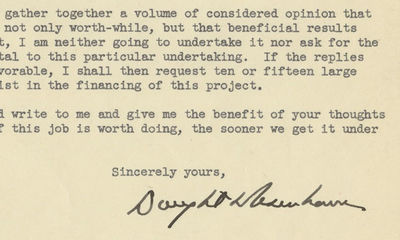 18/12/1948. Dwight D. Eisenhower The Founding Letter of the Renowned Eisenhower Center for the Conse...