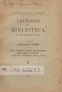 CATALOGO DE LA BIBLIOTECA POR ORDEN ALFABETICO DE AUTORES..