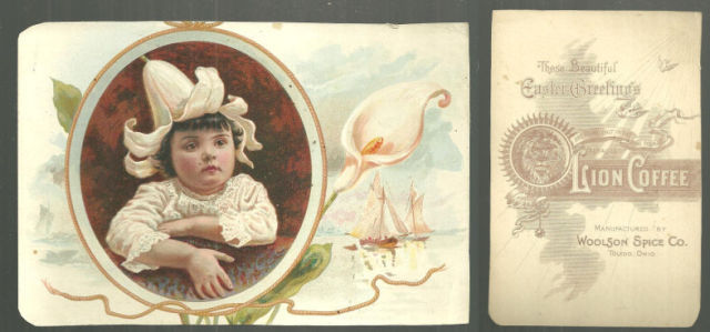 EASTER GREETINGS FROM LION COFFEE VICTORIAN TRADE CARD, Advertisement