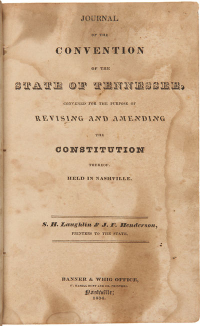Nashville, 1834. 415pp. Original three-quarter calf and marbled boards, gilt leather label. Hinges c...