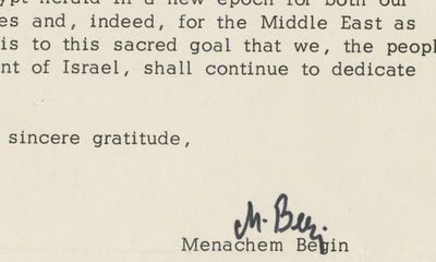 "8/4/79. Menachem Begin He writes Henry Ford II of the Ford Motor Company, calling him ""dear friend..."