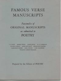FAMOUS VERSE MANUSCRIPTS:; Facsimiles of Original Manuscripts as submitted to POETRY