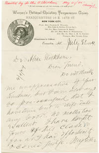 [AUTOGRAPH LETTER, SIGNED, FROM FRANCES WILLARD TO DR. ALICE B. STOCKHAM, REGARDING STOCKHAM'S NEW BOOK]