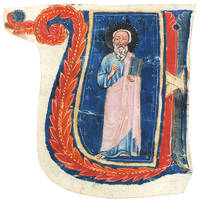 Historiated initial 'U' of a standing Saint, cut to shape from a choirbook.