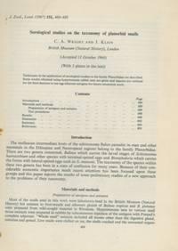 Serological studies on the taxonomy of planorbid snails.