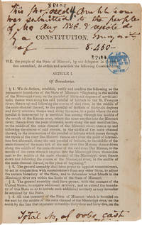 Constitution of the State of Missouri; Made in Convention, at the City of Jefferson, A.D. 1845 [cover title]