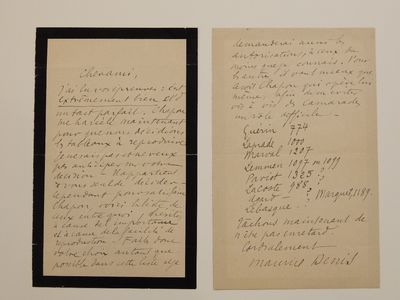 unbound. very good. Important A.L.S. 8vo. 2 pages, black bordered mourning stationary, in French (pa...