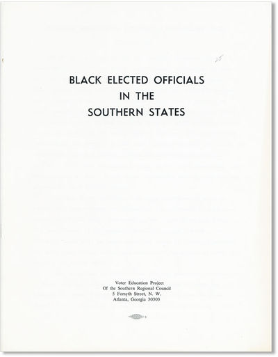 Atlanta: Voter Education Project of the Southern Regional Council, . First Edition. Quarto (11