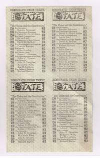 original sheet of 4 tickets for the Democratic party listing Horatio Seymour as candidate for Governor in 1864