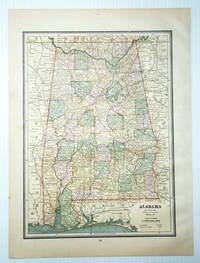 1889 Color Map of the State of Alabama