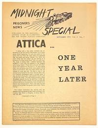image of Midnight Special: prisoners news. Vol. 2 no. 7 (September 1972). Attica... One year later