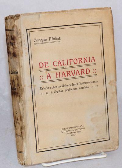 Santiago de Chile: Soc. Imp. y Lit. Universo, 1921. 315p., 7.5x5.5 inch plain printed wraps with rub...