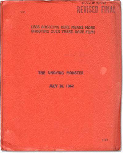 Los Angeles: Twentieth Century-Fox, 1942. Revised Final Script for the 1942 horror film, based on th...
