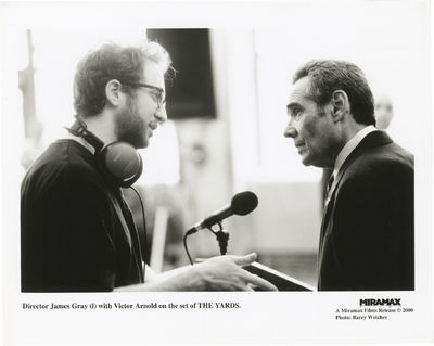 Los Angeles: Miramax, 2000. Vintage reference photograph of director James Gray and Victor Arnold on...