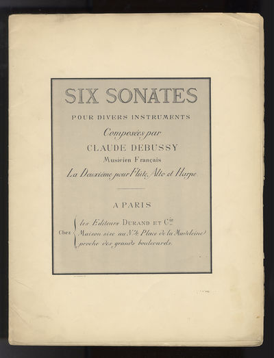 Paris: A. Durand & Cie. , 1915. Folio. Original publisher's ivory printed wrappers. Unbound as issue...