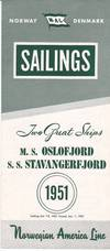 Original 1951 Eastbound Sailing Schedule for the M. S. Oslofjord and S. S.  Stavangerfjord