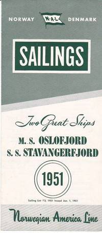 image of Original 1951 Eastbound Sailing Schedule for the M. S. Oslofjord and S. S.  Stavangerfjord