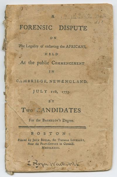 Boston: Printed by John Boyle, for Thomas Leverett, 1773. 48pp. Dbd. Short diagonal cut through most...