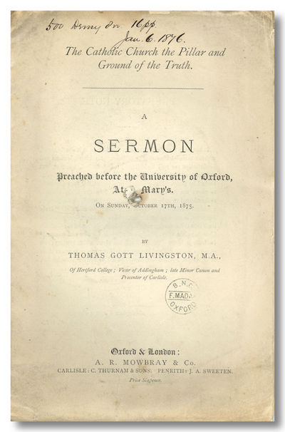 Oxford & London: A. R. Mowbray & Co., 1876. 15,pp. Octavo. Unbound conjugate leaves, rather frayed a...
