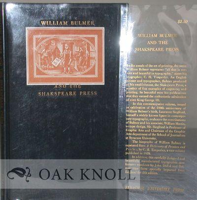 Syracuse: Syracuse Univ. Press, 1957. black cloth. Bulmer, William. 12mo. black cloth. iv, 36 pages....