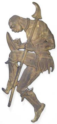 1925. Unbound. Bronze figure of a dancing African warrior, armed with shield and spear. Approximatel...