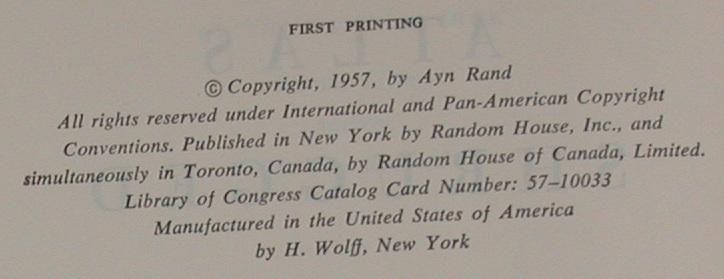 Atlas Shrugged by Rand, Ayn: Fine Hardcover (1957) 1st