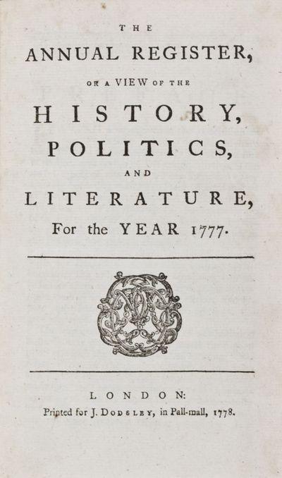 London: J. Dodsley, 1778. First edition. Hardcover. vg. Octavo. 303,249,,pp. Contemporary three-quar...