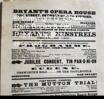 Bryant's Opera House 23rd Street, Between 6th & 7th Avenues, (Nearly Opposite Booth's Theatre.) Eigh...