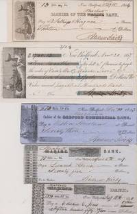 Collection of 40 Checks Drawn on Whaling Banks, 1840s and 1850s.