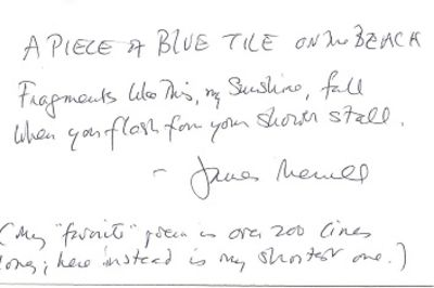 n.p., n.d.. Original manuscript (ALS) of single short poem, signed by Merrill below the poem, with o...