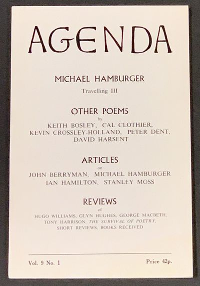 London, 1971. 1st Printing. Printed white glossy paper wrappers. Modest wear, VG+. 78, pp. 8vo.