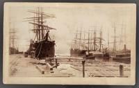 Mounted Photograph of Sailing Ships Moored at Pensacola, Florida, 1890s
