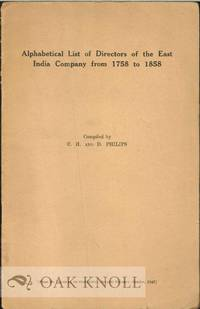 ALPHABETICAL LIST OF DIRECTORS OF THE EAST INDIA COMPANY FROM 1788 TO 1858