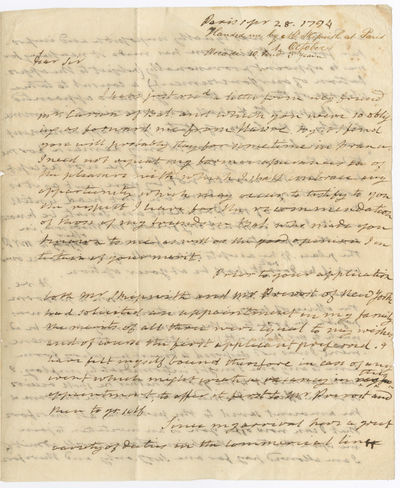 Paris, 1794. pp. on a folded folio sheet, docketed on the blank fourth page. Old folds. Short separa...