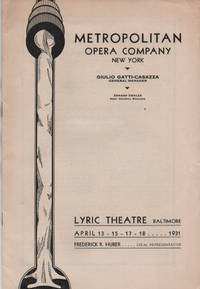 Lyric Theatre, Baltimore, April 13-15-17-18, 1931