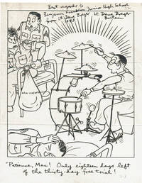 PRINTED WORLD WAR II CARTOON INSCRIBED & SIGNED BY AMERICAN CARTOONIST DAVE BREGER.