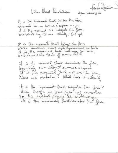 New York, Houston, 1993. Original manuscript (ALS) of single poem, signed by Howard at his printed n...