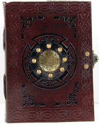 Handmade Paper Brown Luxury Leather 5 x 7 Paper Journal with Brass Medallion by David Friedman
