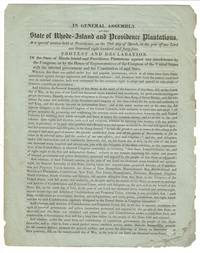 In General Assembly of the state of Rhode-Island and Providence Plantations, at a special session held at Providence, on the 29th day of March, in the year of our Lord one thousand eight hundred and forty-four. Protest and declaration of the state of Rhode-Island and Providence Plantations against any inference by the Congress, or by the House of Representatives of the Congress of the United States with the internal government and the Constitution of said state