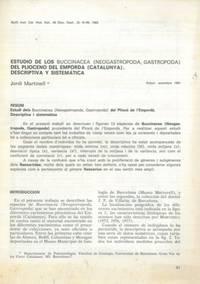 Estudio de los Buccinacea (Neogastropoda, Gastropoda) del Plioceno del Empord� (Catalunya) . Descriptiva y sistematica.