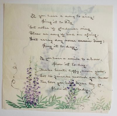 Original Manuscript poem to her...
