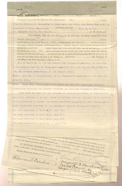 New Mexico. Good. 1907. Softcover. Indentures, or Quit Claim Deeds, for Lots in the City of Socorro ...