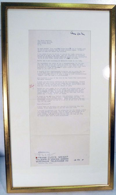Taliesin, 1931. Glass Framed. Fine condition, matted and gilt framed -- suitable for hanging. Typed ...