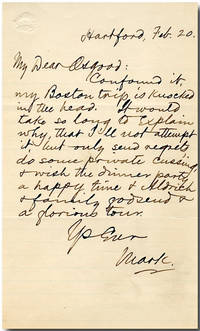 "[Autograph Letter, Signed (""Mark""), to James R. Osgood]"