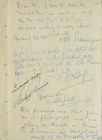 Autograph Note, Signed, to Alfred Eisenstaedt, Montreal, Oct. 1950. Inscribed by the director, Otto Preminger, and members of the cast (Charles BOYER, Constance SMITH, Françoise ROSAY, and Michael RENNIE) of The Scarlet Pen, released in 1951 as The Thirteenth Letter