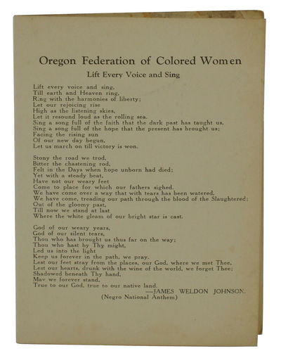 : Oregon Federation of Colored Women. Very Good. . A single sheet, folded once. Very Good. Folded as...