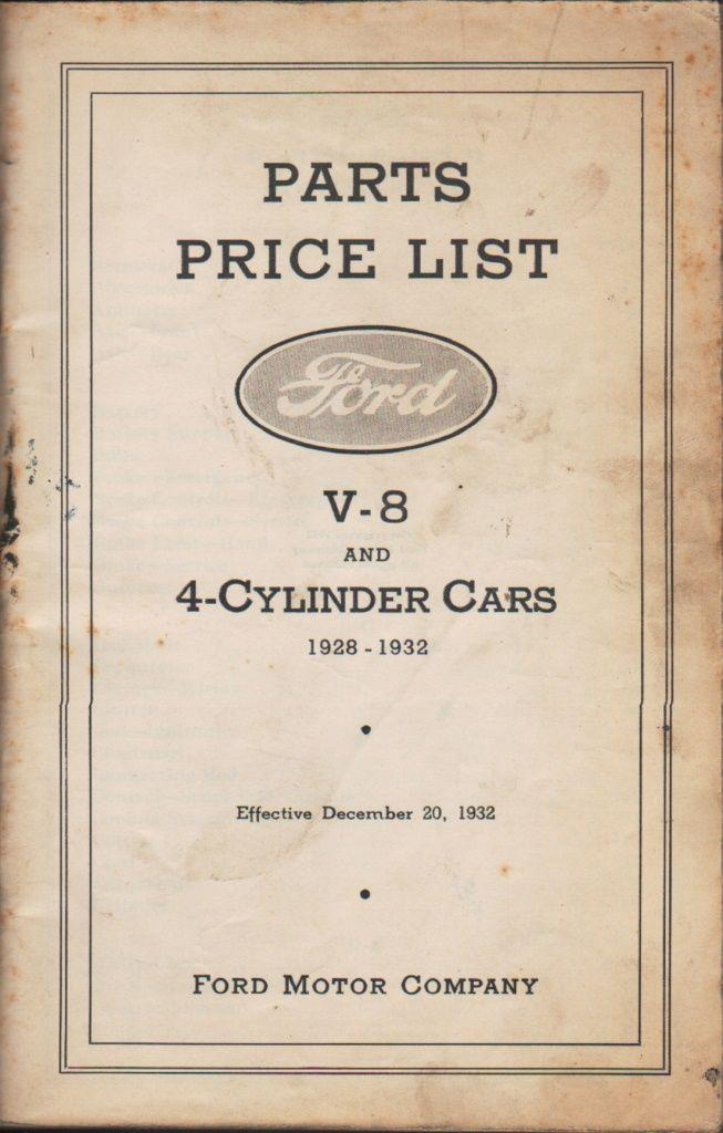 parts price list ford v 8 and 4 cylinder cars 1928 1932 effective december 20 1932 by ford. Black Bedroom Furniture Sets. Home Design Ideas