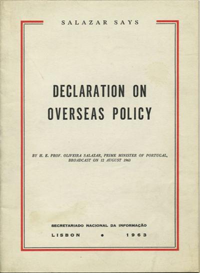 Lisbon: Secretariado Nacional da Informação, 1963. First edition. Stapled paper wrappers. A very g...