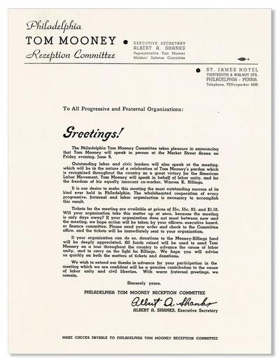 Philadelphia: Philadelphia Tom Mooney Reception Committee, 1939. Broadside (28.5x22cm.); printed on ...