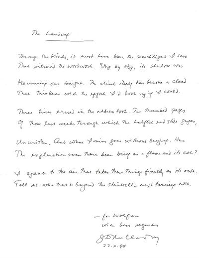 Stonington, 1994. Original manuscript (ALS) of single poem, signed and dated by McClatchy below the ...